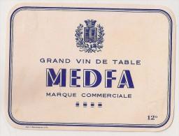 étiquette De Vin De Table : Medfa 12°. 1950-1960 - Labels