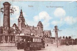 STETTIN Königliches Regierungsgebäude Strassenbahn Tram Linie 6 Bahnhof 16.11. Gelaufen - Pommern