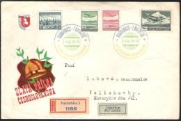 TSJECHOSLOVAQUE 1938 IX Golden Helmet Motorcycle SPEEDWAY Registered Airmail Cover Special Cancellation Airmailstamps - Tsjechoslowakije