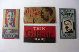 4 Razor Blade Labels, Rasierklingen Labels - Razor Blades