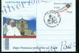 ASSISI - PAPA FRANCESCO - CARTOLINA POSTALE CON SOPRASTAMPA PRIVATA - ANNULLO ASSISI - Interi Postali