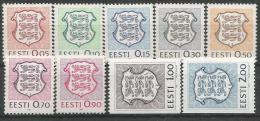 EE 1991-165-173 ARMS, ESTONIA, 1 X 9v, MNH - Briefmarken
