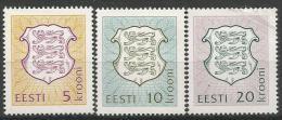 EE 1993-  ARMS, ESTONIA, 1 X 3v, MNHMNH - Briefmarken