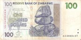 BILLETE DE ZIMBAWE DE 100 DOLLARS DEL AÑO 2007  (BANKNOTE-BANK NOTE) - Zimbabwe