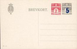 Denmark Postal Stationery Ganzsache Entier 2 Ø Neben 5 Auf 3 Ø Wellenlinien (42-C) Mint ** - Postal Stationery