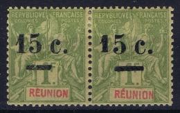 Reunion 1901 Ma 53 A Surcharge Déplacée, Paire Cat Value € 600 +++ - Ongebruikt