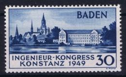 Baden / Bade 1949 Yv Nr 46a, Mi Nr 46 II, MNH/** Certificate + Signed Calves, - Zone Française