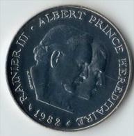 ** 100 FRANCS ARGENT MONACO 1982 FDC ** - 1960-2001 Nouveaux Francs