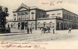CARTOLINA D 'EPOCA  DI CAGLIARI STAZIONE FERROVIE REALI RARA!!!  VIAGGIATA NEL 1904 - Gares - Sans Trains