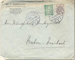 4Za983: 158x126 Mm Brief: N° 55+62: 12½ C Frankering: MAASTRICHT *3* .... Hoek Vd Brief Is Beschadigd.. - 1891-1948 (Wilhelmine)