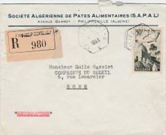 ALGERIE MARABOUT 50F PA 9 SEUL SUR LETTRE REC PHILIPPEVILLE TAD RECETTES URBAINE - Algeria (1924-1962)