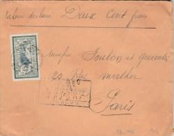 MERSON 45C YT 143 SUR LETTRE REC VD LIMOGES 1908 POUR PARIS - 1877-1920: Semi Modern Period
