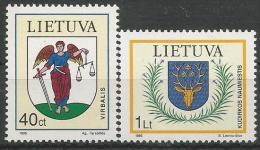 LT 1996-591-2 COAUT OF ARMS, LITUANIA, 1 X 2v, MNH - Briefmarken