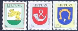 LT 2000-739-41 COAT OF ARMS, LITHUANIA, 1 X 3v, MNH - Briefmarken