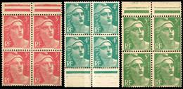 806 807 809 MARIANNE DE GANDON BLOC DE 4 NEUF SANS CHARNIERE 1948 - Ongebruikt
