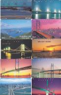 Lot 10 Telecartes Japon Japan Pont Bridge Brücke Brug - Phonecards (pont 1) (au Plus Rapide) - Télécartes
