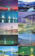 Lot 10 Telecartes Japon Japan Pont Bridge Brücke Brug - Phonecards (pont 3) (au Plus Rapide) - Télécartes