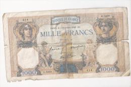 Billet De 1000 Francs...Céres Mercure (3 Novembre 1938).(Voir Commentaires) - 1871-1952 Gedurende De XXste In Omloop