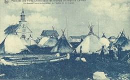 CANADA YUKON MISSIONS DES PERES OBLATS DANS LES CHAMPS DE NEIGE  DU CANADA TENTES DES INDIENS AUTOUR DE LA MISSION - Yukon