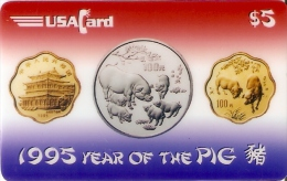 TARJETA DE ESTADOS UNIDOS DE UNAS MONEDAS  AÑO DEL CERDO-PIG (MONEDA.-COIN) NUEVA-MINT - Stamps & Coins