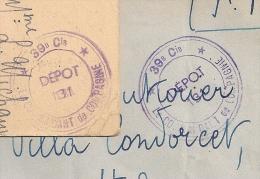 COSTAROS Haute Loire, 39e Cie, DEPOT 131 Sur 2 Documents. - Marcophilie (Lettres)