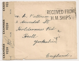 Her Majesty's Ships,  H.M.SHIPS, Marine Anglaise +  Censure Pour Angleterre. - Marcophilie (Lettres)
