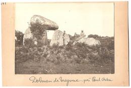 Dépt 29 - TRÉGUNC - Dolmen De Trégunc, Près Pont-Aven - Photographie Collée Sur Carton D'origine, 1904 - Photo - Trégunc