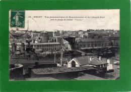 29 BREST Vue Panoramique De Recouvrance Et De L'avant Port Prise Au Passage Du Cuirassé (VERITE)Cpa Année 1910 - Brest