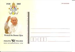 POLONIA - 2005 CP Poste Polacche - Ricordo Di Papa GIOVANNI PAOLO II - Papas