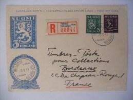 Finland Carte Recommande De Helsinki 1948 Pour Bordeaux , Premier Jour - Storia Postale