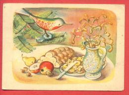 153017 / Czech Artist  A. VONCUROVE - CHRISTMAS , TREE BIRD TOY  , Pears, Apples Juglans CAKE VASE FLOWERS - - Andere Illustrators