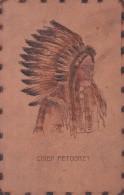 CHIEF PETOSKEY-INDIANO-RARA CARTOLINA IN PELLE ORIGINALE D´EPOCA 100% - Indiani Dell'America Del Nord