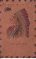 CHIEF WOLF ROBE-INDIANO-RARA CARTOLINA IN PELLE ORIGINALE D´EPOCA 100% - Indiani Dell'America Del Nord