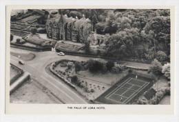AI53 The Falls of Lora Hotel - RPPC, aerial view, tennis court, cars
