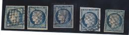 Lot De 5 Timbres N°4 - 25c Bleu - Oblitération Grille De 1849 - 1849-1850 Cérès