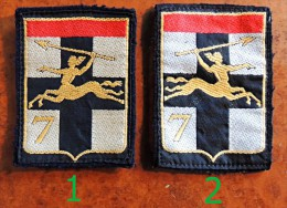 Ecusson à Coudre, Patch -  7° Division Blindée : Etat Major (numéro 1 Sur La Photo) - Patches