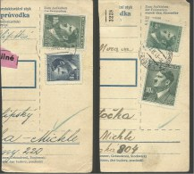1943  Böhmen Und Mähren  2 Paketkartenteile  Mit 5k, 8k & 2x 10k - Cartas