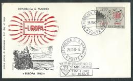 1962 SAN MARINO FDC FILAGRANO EUROPA NO TIMBRO ARRIVO - RSD01 - FDC