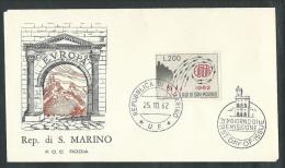 1962 SAN MARINO FDC RODIA EUROPA NO TIMBRO ARRIVO - RSD01 - FDC