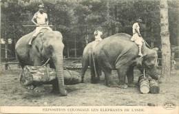 Eléphants De L´Inde - Exposition Coloniale - ** Eléphant Transportant De Troncs ** - Cpa - Ethnique En Bon état. - Géorgie