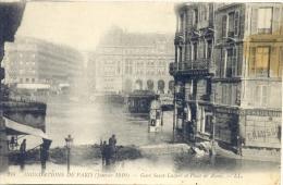 CPA PARIS - GARE SAINT LAZARE ET PLACE DE ROME - INONDATIONS DE 1910 - Paris Flood, 1910