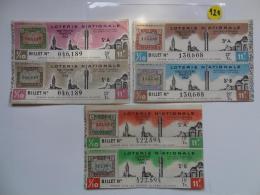 3 BILLETS DE LOTERIE 1942.  SERIE A Et B.Avec Timbres. - Billets De Loterie