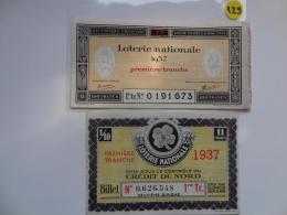 2 BILLETS DE LOTERIE 1937  . - Lottery Tickets