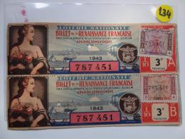 1 BILLET DE LOTERIE 1943. RENAISSANCE FRANCAISE. Serie A Etr B.. - Billets De Loterie