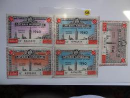 5 BILLETS DE LOTERIE 1940. - Lottery Tickets