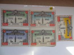 4 BILLETS DE LOTERIE 1939 + 1 1940. - Lottery Tickets