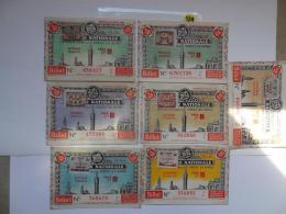 7 BILLETS DE LOTERIE 1942 . Serie B - Lottery Tickets