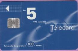 Malte  30  :-.   Telecard  5 Lm  Bleu  Marine  100 Units  °  Sc7  C671 ***   LUXE  8 € - Malte