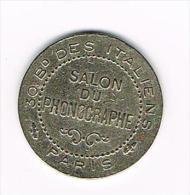 ¨¨ PENNING  SALON DU PHONOGRAPHE 30 BD DES ITALIEN   PARIS 1910 - Elongated Coins