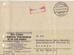 Gebühr Bezahlt Beleg 1945 Arnsberg-Land  - Bremen - American/British Zone